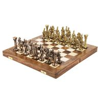 Handmade Royal International Brass Chess with Wooden Book Style Box and Storage Delux Chess S