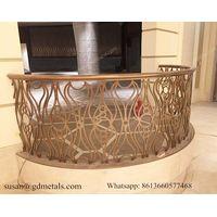 Laser Cut Rose Golden Balcony Stainless Steel Railing For Villa