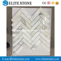 Calacatta Gold 1x4 Herringbone Mosaic Tile Polished - Marble from Italy thumbnail image