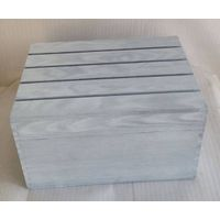 Grey washed vintage wooden apple crate box with drop off lid
