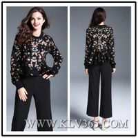 New Fashion Designer Top Women Winter Wool Cotton Floral Printed Ruffled Blouse Shirt