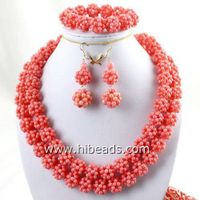 34 Pink coral necklace sets handmade small balls thumbnail image