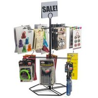 "Hooks - Black Counter Spinner Rack w/ Sign Holder, 2 Tiers, (12) 4.625"" Hooks - Black"