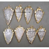 Agate Electroplated crystal quartz Arrowheads pendants