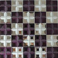 Chinese glass purple mix white tile mosaic