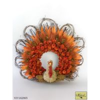 Orange Wood curl and rattan Turkey Wreath decoration