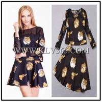 designer women Trendy Spring Summer Silk Dress Skirt