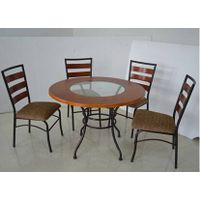 cheap metal frame wooden or glass top dining table and chair thumbnail image