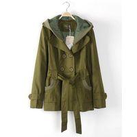 Ladies cotton parka jacket with belt&hood trim