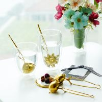 Gold tea steeper herbal ball coffee tea infuser for loose tea