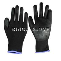 China Black PU Coated 13G Polyester Safety Glove thumbnail image