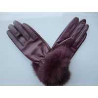 lady's sheep skin with cony hair gloves