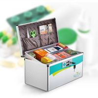 Glosen 10 Inch Aluminum First Aid Box with Portable Handle and Security Lockg R8030 thumbnail image