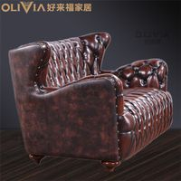 Classic American Style Chesterfield Full / Half Leather Sofa Set 1+2+3 thumbnail image