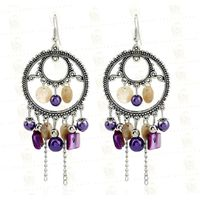 Ethnic Style Retro Round Earrings Chain Tassel