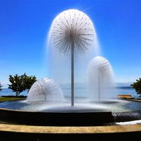 Outdoor Dandelion Crystal Ball Nozzle Led Light Musical Water Fountain