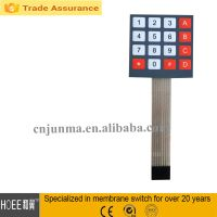 China custom made size,shape,color,cable length 4*4 membrane switch keyboard maker