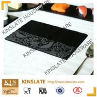 Rectangular slate cheese board with lacer printing