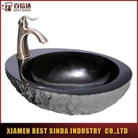 Natural granite vessel sink with faucet mount wash basin