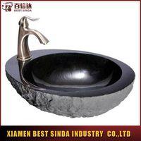 Natural granite vessel sink with faucet mount wash basin