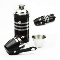 stainless steel hip flask cylinder with shot glasses