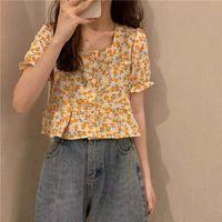 French square collar floral shirt women design sense small top 2021 summer thumbnail image
