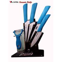 4pcs bule handle ceramic knife set