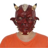 X-MERRY TOY Halloween Mask Deluxe Red Devil Horror Party Full Head Latex Mask thumbnail image