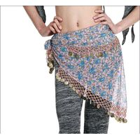 M-BL163 Women Belly Dance Chiffon Printing Dress Costume Sequined Hip Scarf