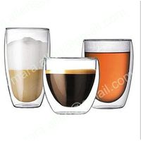 Double Wall Glass Cup Handmade Blown Clear Borosilicate Beer Cup thumbnail image