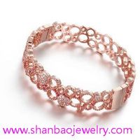 Shanbao Jewelry Imitation Jewelry Gold Plated Zircon Jewelry Girls Women Flower Party Zircon Bangles