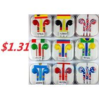 3.5MM Stereo Colorful World Cup Mobile Phone Earphone with Microphone thumbnail image
