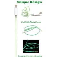 Green Light Visible Flowing Current Charge & Sync Data Cable for Micro USB Device - White thumbnail image