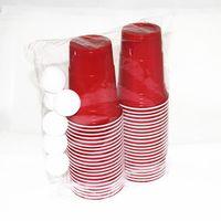 Original Plastic Beer Pong Red Cups Set 16 oz (473 ml), 100 Cups + 6 Beer Bong Balls