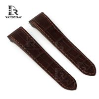 Replacement Brown leather watch strap band fit for Cartier Santos 100