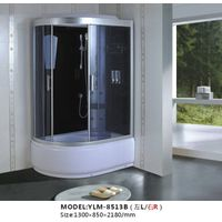 White Shower Cabin with Clear Tempered Glass