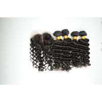 Natural color, real hair, hair curtain, real hair, deep wave 3+1