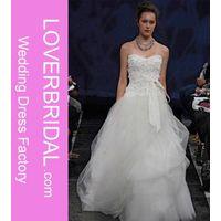 A-Line Sweetheart Neckline Strapless with Ruffles Zipper Sweep Train Tulle Wedding Dress