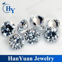 Machine cut white color round shape loose cubic zirconia