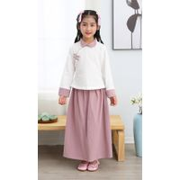 Girl summer 100% cotton long sleeve mandarin colar two piece sets Tang suit Chinese traditional clot thumbnail image