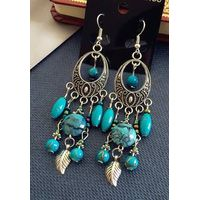 Stone Style Filigree Design Leaf Tassel Earrings