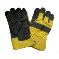 Sell dar color furniture leather gloves yellow rubberized cuff