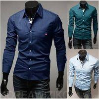 Mens Pure Color Shirt,Casual Slim Fashion Dress Shirts For Men thumbnail image