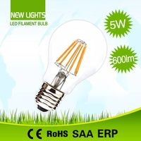 New Lights CE approved 360 degree2w/4w/6w/8w A60 led filament bulb