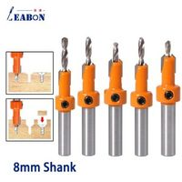 8mm Shank HSS Woodworking Countersink Router Bit Set Screw for Wood Milling Cutter Metal Alloy Count