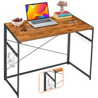 Folding Computer Desk, Small Writing table Easy Assembly Metal Frame, Writing Workstation Laptop Tab
