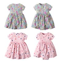 Baby girls cute print romper dress short sleeve baby girl frock