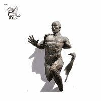 abstract hot sale life size 3D wall statue bronze running man sculptur