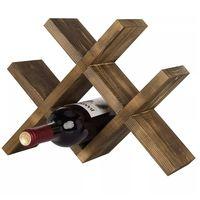 Custom Tabletop Free Standing Rustic Torched Brown Wood Wooden Wine Bottle Rack
