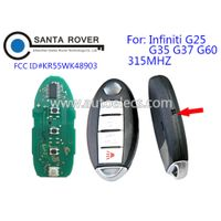 Infiniti G25 G35 G37 Q60 Smart Remote Key 315Mhz 4B Trunk KR55WK48903 with Emergency Key thumbnail image